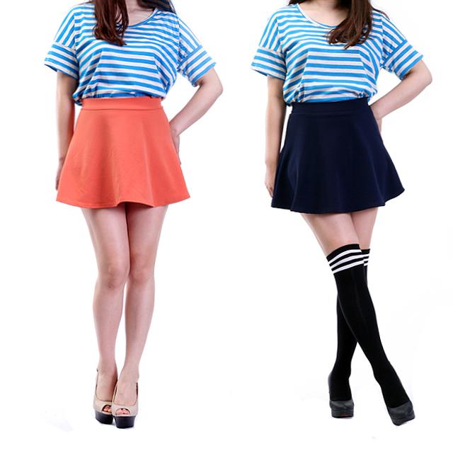 Women ladies girls basic solid plain schoolgirl skater a line flared mini skirt