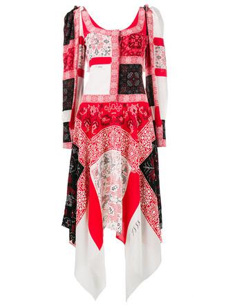 dress long dress patchwork long women silk red