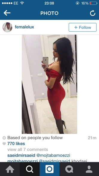 dress red red dress bandage dress bodycon dress