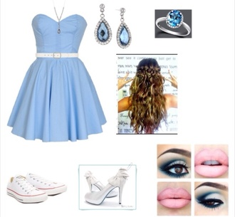 dress blue makeup silver pumps white converse blue light dress blue jewels wavy hair