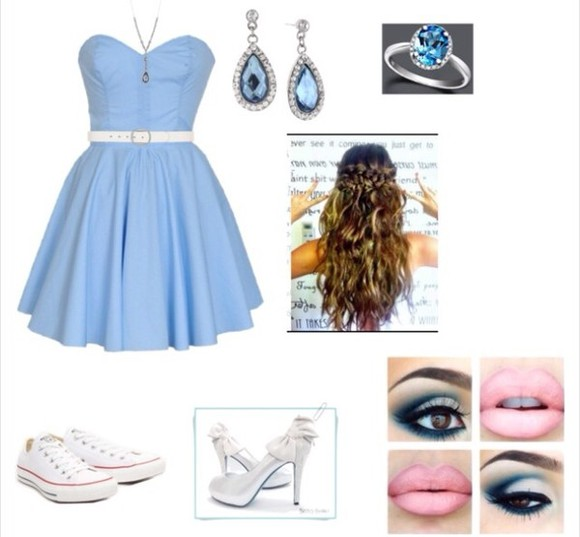 blue jewels dress blue makeup silver pumps white converse blue light dress wavy hair