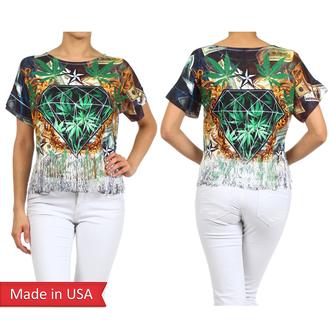 fringes weed weed shirt diamonds stars short sleeve t shirt print cannabis pot leaf leaf print red lime sunday