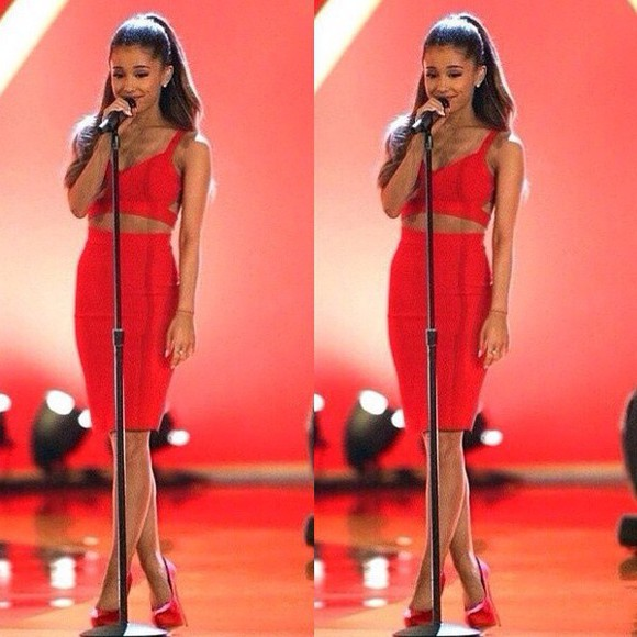 skirt ariana grande outfit style pencil skirt red top