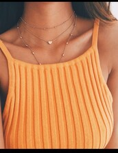 shirt,tank top,orange top,orange,knitted top,top,crop tops,boho,jewels,jewelry,necklace,gold necklace,gold choker,choker necklace,layered,gold jewelry