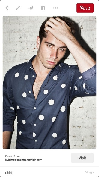 shirt navy blue white polka dots
