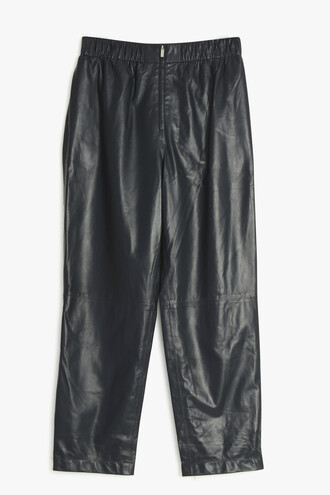 leather navy pants