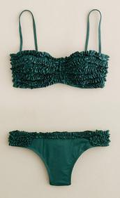 swimwear,ruffle,green,kelly green,bikini,swimwear two piece