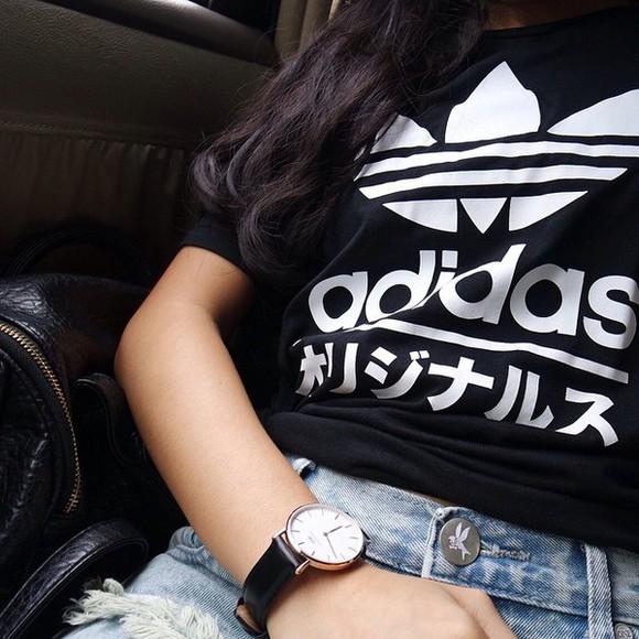 black shirt urban outfitters t-shirt black and white monochrome adidas japanese basic white sportswear fashion trendy shorts