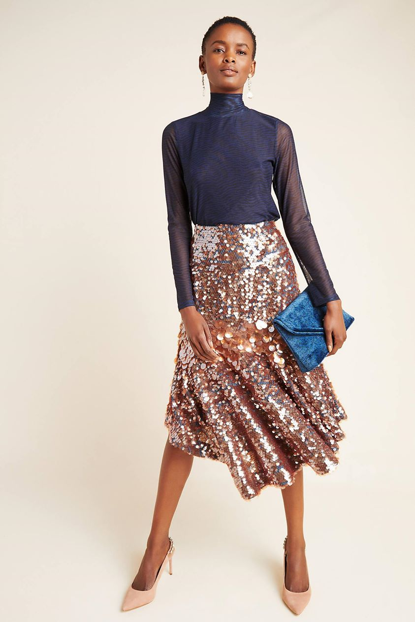 Leonita Sequined Midi Skirt by Dhruv Kapoor in Purple