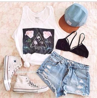 black shorts denim shorts girly crop tops bralette underwear triangle