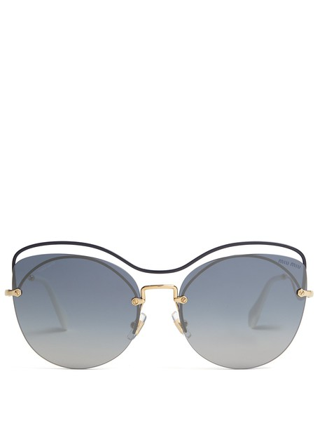 MIU MIU Cat-eye metal sunglasses in blue