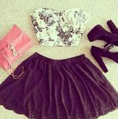 tank top,clothes,floral tank top,bralette,floral,bandeau,bustier,flowers,black and white,skirt,shoes,black skirt,crop tops,pink bag,white,black,black heels,bag,Black and white blalet,girly,purse,white and black tshirt,t-shirt,blouse,flower busiter,cute outfits,underwear,shirt,black lace skater skirt,floral top,floral crop top,floral bustier,floral bustier top,bustier top,summer,summer outfits,outfit,pr,elegant,top,white t-shirt,heels,bustier crop top,hat,dress,tumblr,spring,grunge,pattern,tumblr outfit,crop,vintage,pinterest,two piece dress set,skater skirt,cute,cute top,high heels