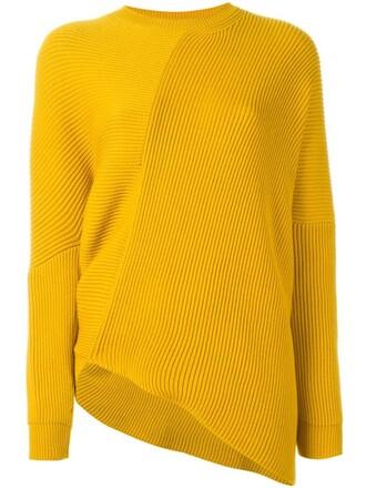 top asymmetrical top asymmetrical women wool yellow orange