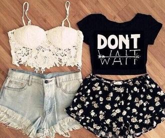 shirt cute shorts white top coachella