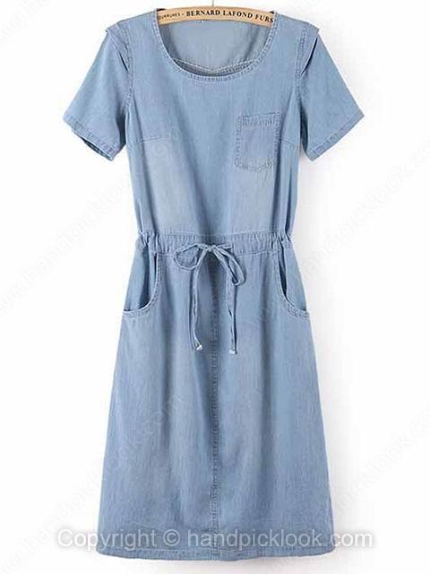 Light Blue Round Neck Short Sleeve Pockets Dress - HandpickLook.com