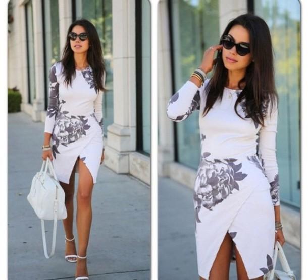 de2b7341f0c7 dress white floral bodycon midi skirt midi dress wrap dress floral dress  sandals white sandals bag