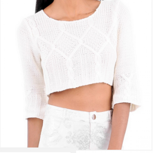 Ladies knitted cropped jumper top