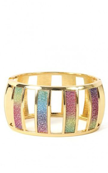 jewels bangle gold braclet rainbow glitter multicolor
