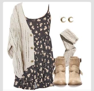 dress floral dress sweater shoes cardigan