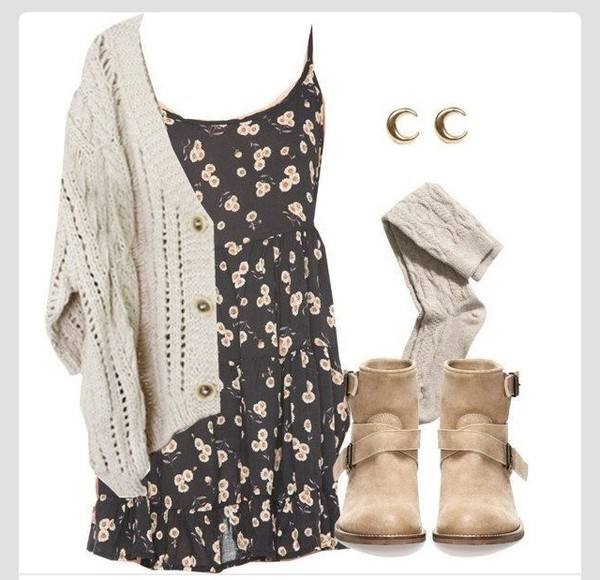dress floral dress sweater shoes cardigan