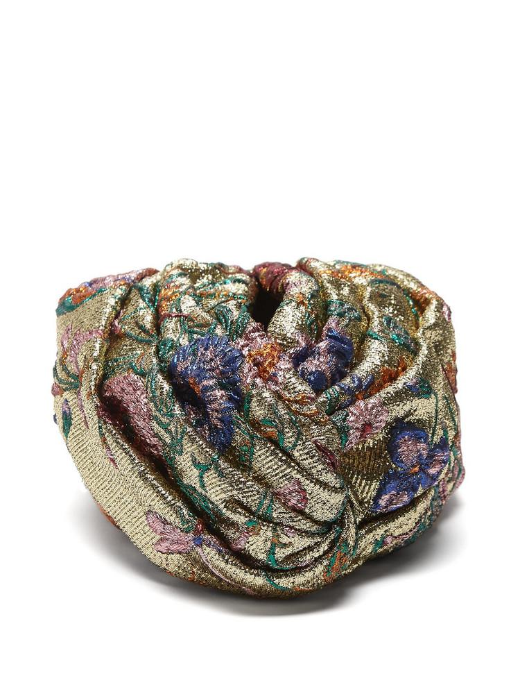 8cbaa6c32bc73 GUCCI Metallic floral brocade turban hat in gold