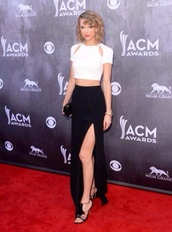 shirt,skirt,high waisted skirt,black high waisted skirt,crop tops,cut out white crop tops summer,taylor swift,tank top,dress,white,crop,top,white crop tops,black skirt,black slit skirt,slit,country music awards,red carpet,blouse,shoes,prom dress,clothes,taylorswift,long skirt,black,cut out crop top