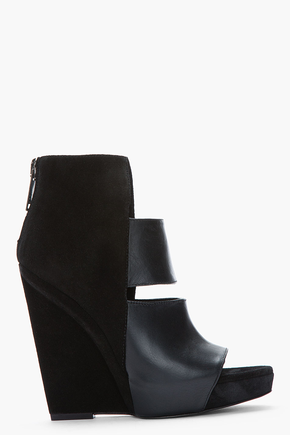 gareth pugh black suede and polished leather cut_out sandals