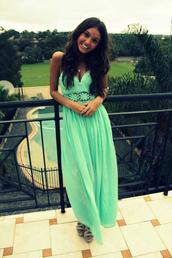 maxi dress,mint dress,dress,crochet,lace,sundress,classy,turquoise,high heels,v cut,green dress,black hair,necklace