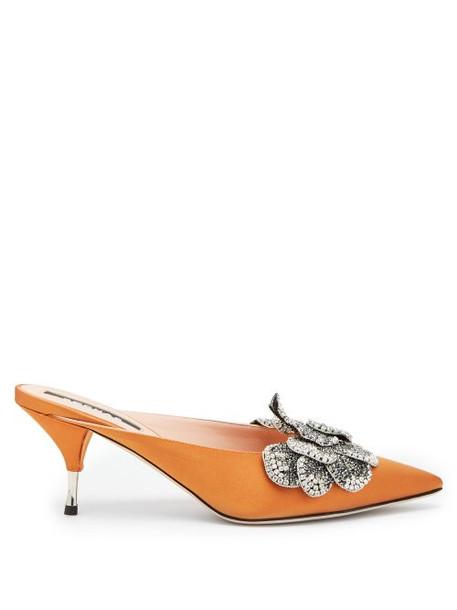 Rochas - Devon Point Toe Satin Mules - Womens - Dark Orange