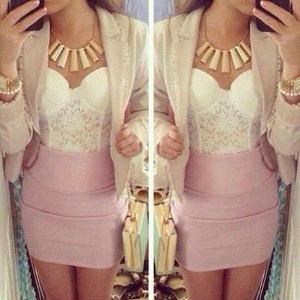 36ede0a63df41 jacket tank top skirt white dress cream cute outfits clothes tumblr girl  pink bag coat jewels
