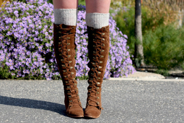 3af3ee0e901 shoes tall boots brown boots lace up boots.