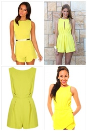 jumpsuit,yellow,romper,yellow playsuit,yellow jumpsuit