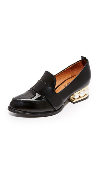 pearl loafers gold black shoes