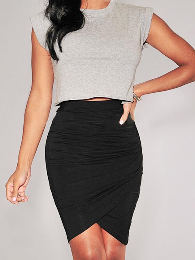Length ruched irregular skirt