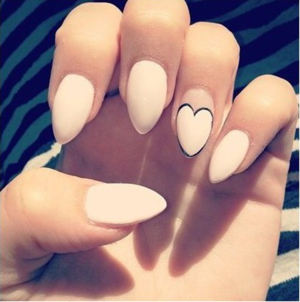 Nail Polish Heart Pink Nails Long Stiletto