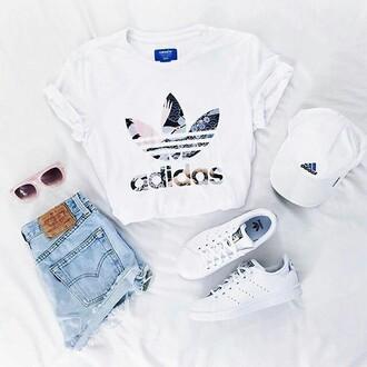 shirt adidas shirt adidas white t-shirt outfit adidas superstars cap hat