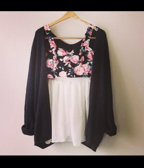 skirt skater skirt floral crop top cardigan