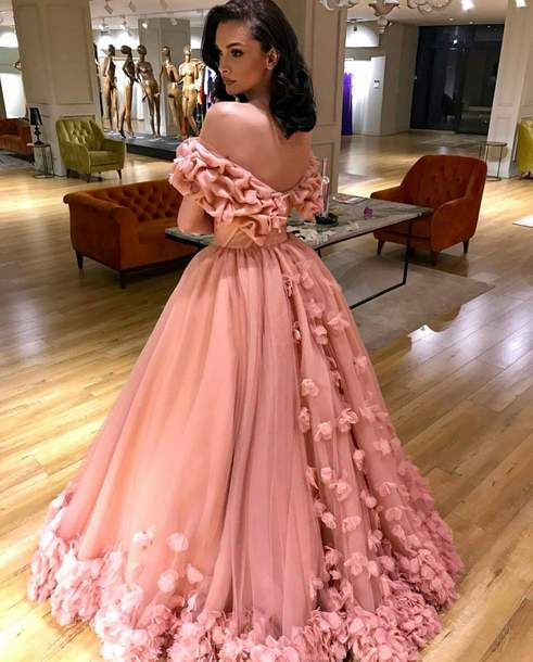dress, princess dress, queen, lady, pink, pink dress, flowers, ball ...