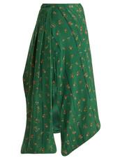 skirt,floral,print,silk,green