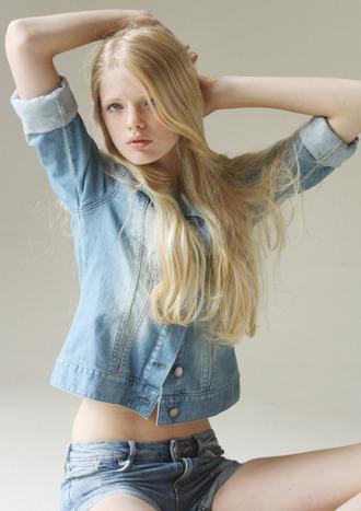 shorts all denim outfit denim denim shorts denim jacket jacket blue jacket blonde hair