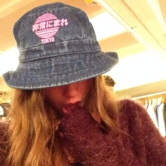 hat bucket hat denim chinese tokyo pink girly trap trill fashion dash cute style stylish stylist cap head