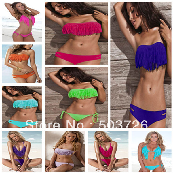Free Shipping Hot Sale Swimwear Women Padded Boho Fringe Bandeau Bikini Set New Swimsuit Lady Bathing suit-in Bikinis Set from Apparel & Accessories on Aliexpress.com