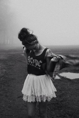 tank top vest top acdc black white black t-shirt white skirt skirt