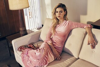 dress nicola peltz celebrity actress pink dress maxi dress long sleeve dress sandals high heel sandals red sandals red high heel sandals prom dress pastel pink