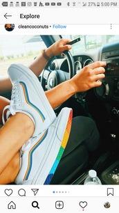 shoes,rainbow,vans,white,sneakers,rainbow sole