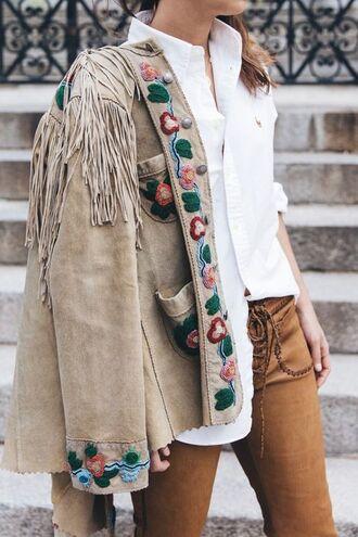 jacket boho jacket nude jacket suede jacket embroidered jacket fringed jacket shirt white shirt pants brown pants lace up pants