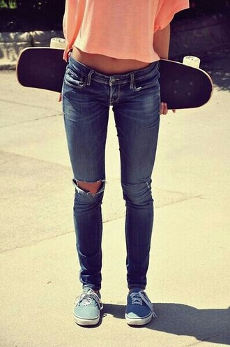 jeans ripped jeans skater orange peach crop tops skate board blue shoes