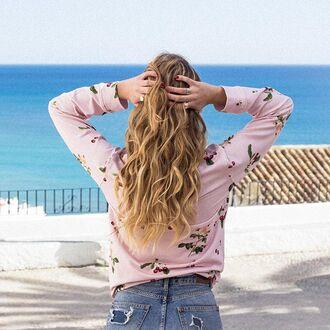 blouse yeah bunny sweatshirt cherry pink pastel cute