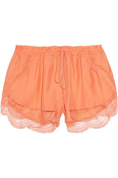 Lover | Lace-trimmed silk shorts | NET-A-PORTER.COM