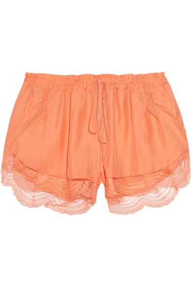 Lover|Lace-trimmed silk shorts|NET-A-PORTER.COM